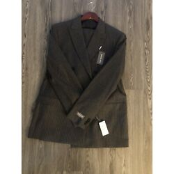 Michael Kors Regular Fit Double Breasted Striped Suit 44L/37 MSRP $600