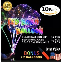 Kyпить 10 PCS LED Light Up BOBO Balloons 20 Inch(WITH THE STICK)10 Pack Clear + PUMP на еВаy.соm