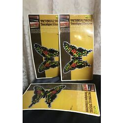 Vintage Butterfly Chroma Graphics Sticker Pictorial Decal Prism set of 3 1970 s