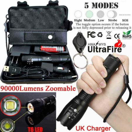 img-Tactical 90000LM T6 LED ZOOM Torch Flashlight 18650 Work Light Bike Lamp Camping