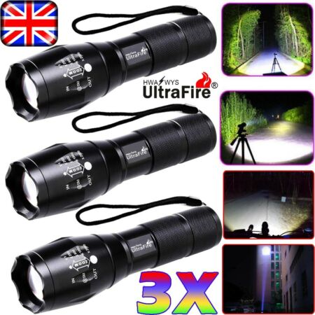 img-Police 90000LM T6 LED 18650 Super Bright Zoom Flashlight Powerful Lamp Torch UK