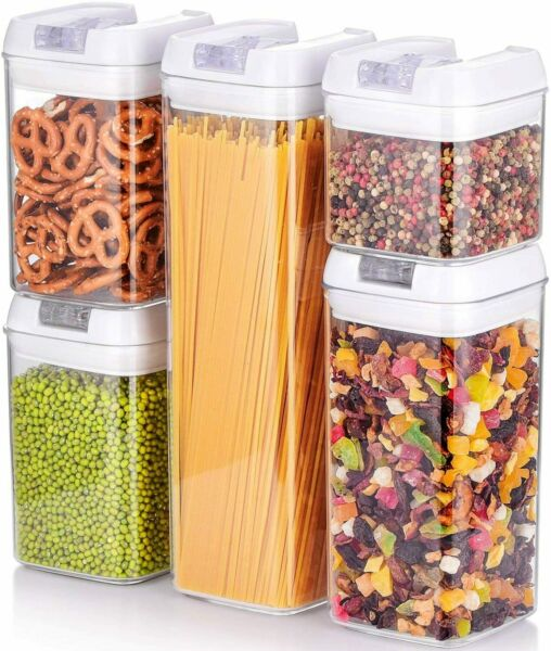 5Pc Airtight Stackable Kitchen Dry Food Storage Container Special Airtight Lids