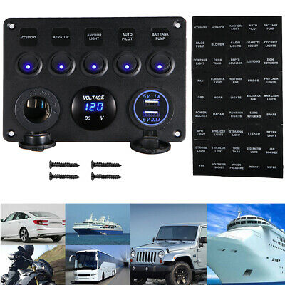 5 Gang On-Off Blue LED Toggle Switch Panel Voltmeter Dual USB Car Boat IN USA