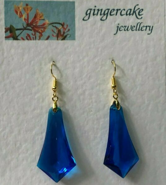 LARGE PEACOCK BLUE FACETED ACRYLIC CRYSTAL GOLD PLATED SPEAR EARRINGS hook
