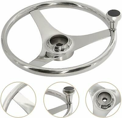 13-1/2 Inch 3 Spoke Boat Steering Wheel withTurning Knob Stainless Steel Marine