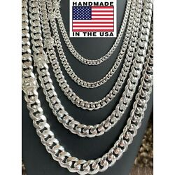 Kyпить Real Solid 925 Sterling Silver Miami Cuban Chain Or Bracelet 5-14mm Box Clasp на еВаy.соm