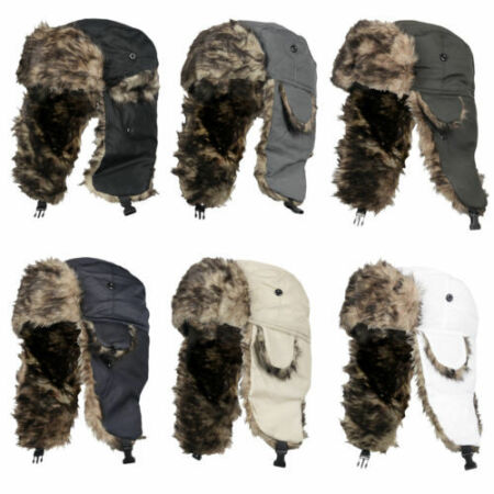img-Aviator Trapper Hat Unisex Bomber Winter Russian Trooper Ear Flap Fur Ski Cap UK