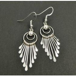 Native American Navajo Pauline Armstrong Shiny Sterling Silver Fringe Earrings