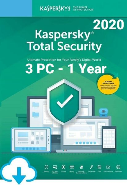 Kaspersky Total Security 2020 for 3 PC / Devices 1 Year Download Key EU
