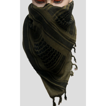 img-Army Style 100% Cotton Arab Desert Shemagh Olive Green Black Face Covering Scarf