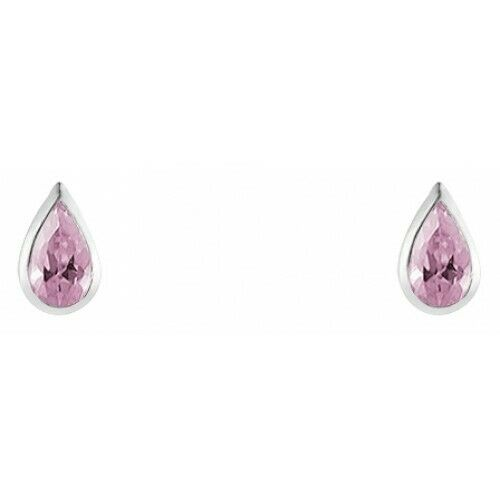 Royaume-UniRose Boucles D' 925 Argent Sterling Rose Cz Rubover