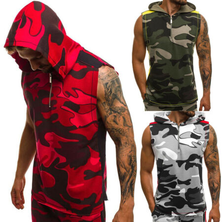 img-Men Sport Muscle Hoodie Tank Vest Top Camouflage T-Shirt Tee Gym Fitness Workout