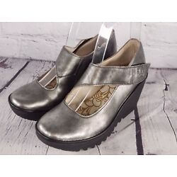 FLY London - Leather Wedge Mary Janes - Yasi - Silver - EU 35 US 5