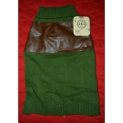 Large Dog Sweater Green with Brown Pleather Shoulder & Toggles Bond & Co