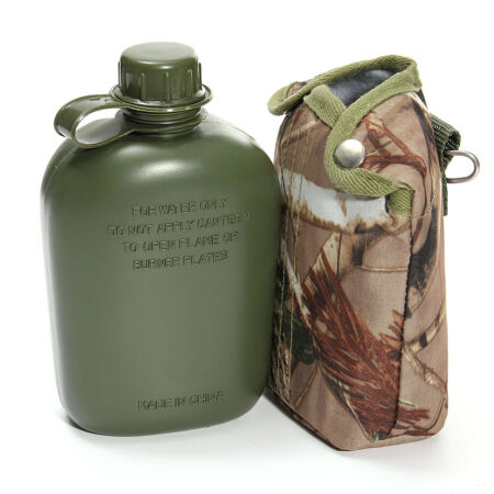 img-Army Style Military Patrol Drinks Water Bottle Canteen Camo Camping Hiking Cap