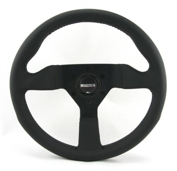 AllemagneMomo Leather Sports Steering Wheel Montecarlo 12 19/32in Black Volante