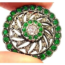 Kyпить Antique Button…Early French or English Green Paste Set In Silver…Pinwheel на еВаy.соm