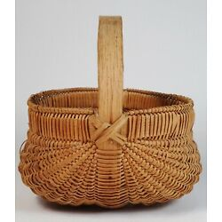 Kyпить Antique Small Primitive Oak Splint Buttocks Basket 6