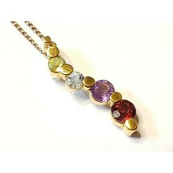 Kyпить Gold over Sterling pendant necklace Signed Ross Simmons? Amethyst peridot topaz на еВаy.соm