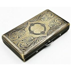 Kyпить Victorian Style Cigarette Case Double Sided King & 100s Etched Pattern 4