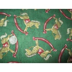 Kyпить CHRISTMAS Vintage ROCKING HORSES On GREEN 1980's COTTON Fabric - 4 yd  на еВаy.соm