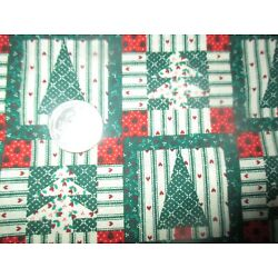 Kyпить CHRISTMAS Vintage PATCHWORK TREES On CREAM 1990's COTTON Fabric - 2 yd  на еВаy.соm