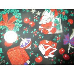 Kyпить HOLIDAY Vintage EVERYTHING CHRISTMAS On BLACK 1980's COTTON Fabric - shy 2 yd  на еВаy.соm