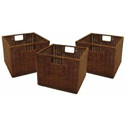 Winsome Leo Set of 3 Wired Baskets, Small, Brown New