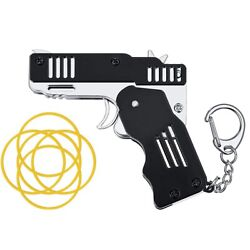 Kyпить Mini Metal Rubber Band Gun  Folding 6-Shot with Keychain and Rubber Band 100+  на еВаy.соm