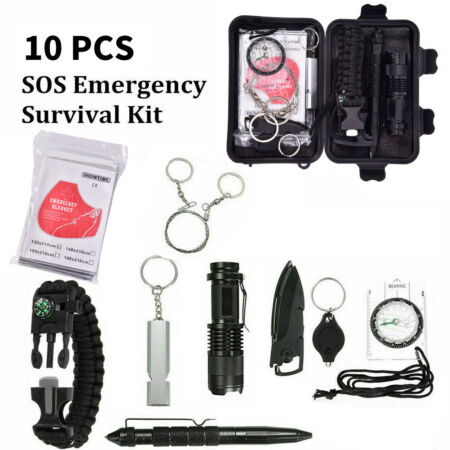 img-9 in 1 Outdoor Emergency Equipment SOS Kit Camping Survival First Aid Box Set.UK