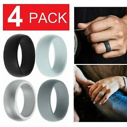Kyпить 4 Pack Silicone Wedding Engagement Ring Men Women Rubber Band Gym Sports US на еВаy.соm