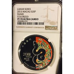 Kyпить MACAU CHINA PF70 LUNAR SILVER SNAKE 2013 NGC LUNAR SERIES 1oz 20 patacas PROOF на еВаy.соm