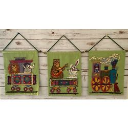 Kyпить Vintage 1970's Nursery Wall Hangings Felt Aplique Embroidered Train Excellent на еВаy.соm