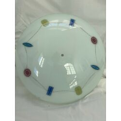 Kyпить Vintage Frosted Glass wi/ Colored Etched Art Ceiling Light Cover/Shade 18.5