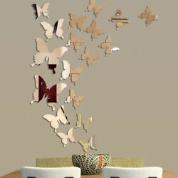 Silver Color 3D Mirror Butterfly Wall Deco Art Removabke Sticker For Home Room