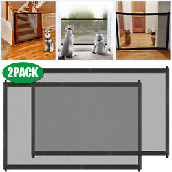 2PCS Portable Indoor Baby Safety Gates Pets Cat Dog Mesh Net Home Kitchen Stairs