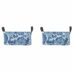 Pioneer Woman Medium Blue Floral Canvas Basket, Set of 2 *FREE SHIPPING*