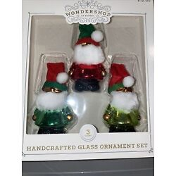 Kyпить New In Box, Wondershop, Handcrafted Glass Ornament Set Santa Elves Christmas на еВаy.соm