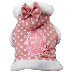 NEW Size Small Pink Polka Dot Fashion Couture Hooded Dog Coat Dog Clothing