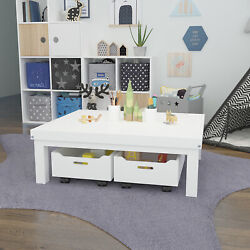 Kids Activity Table Play Center with Toy Storage Bins Playroom Gaming Art Desk