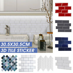 3D Tile Stickers Brick Wall Self-Adhesive Sticker Bathroom Kitchen Living Room
