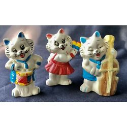 Kyпить Set Of Vintage Musical Kitch Anthropomorphic Bisque Cat Figurines, Made In China на еВаy.соm