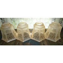 Kyпить Set of 4 Amber Etched Frosted Glass Light Shades 2 1/4