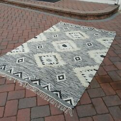 Kyпить NEW 8 x 10 ft $549 Nuloom Wool Rug Moroccan Shag crate and barrel black white на еВаy.соm