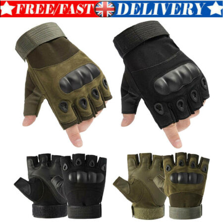 img-Tactical Hard Knuckle Half Finger Gloves - Army Military Airsoft Work Fingerless