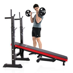 Kyпить Folding Weight Bench With Rack Adjustable Lifting Strength Gym Workout Home Gym на еВаy.соm