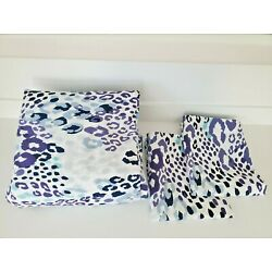 Kyпить Pottery Barn Full Queen Cotton Duvet Cover, Purple Blue Leopard Cheetah Print на еВаy.соm