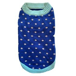 Dog Sweater LARGE Polka Dots BLUE BEIGE Blueberry Pet Clothes