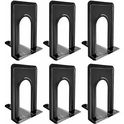 Metal Library Bookends Book Support Organizer Bookends Shelves Office 6 Piece