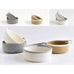 2PC Set Round Small Woven Storage Baskets  Natural Cotton Rope Baskets  Key Tray